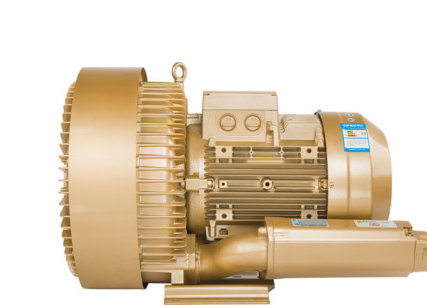 Three Phase Regenerative Air Blower , High Pressure Ring Blower In Gold Color